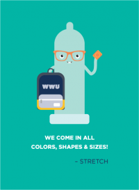 A teal condom wearing orange glasses and holding a WWU backpack