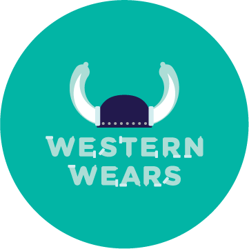 Western Wears logo, featuring a viking hat with condoms on the horns
