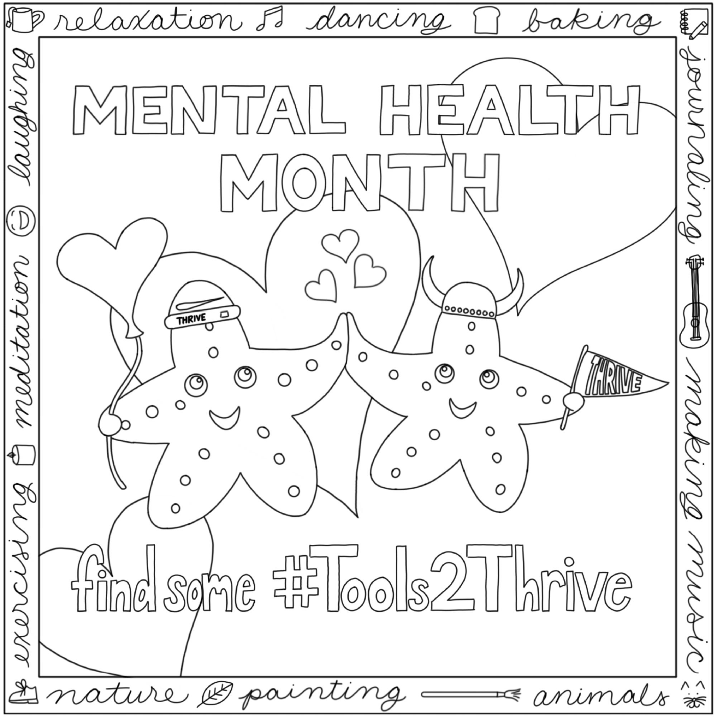 Two smiling cartoon starfish touching hands and surrounded by hearts and the words Mental Health Month