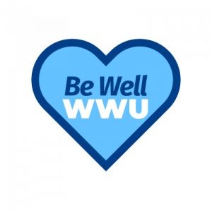 Be Well WWU logo, text in a blue heart