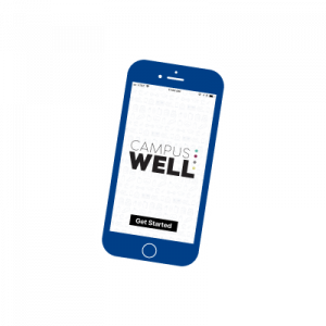 CampusWell logo, text set on a tilted smartphone screen