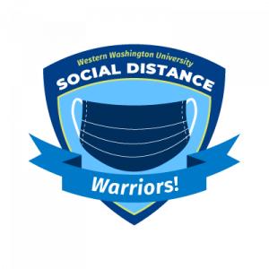 Social Distance Warriors logo, with a surgical mask set against a shield